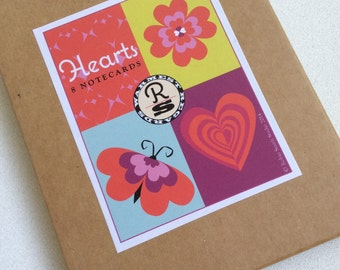 Hearts - Set of eight notecards