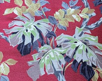 Tropical Linen Barkcloth Fabric  Vintage 1960s 100/% Linen  1 14 Yards