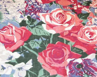 1930's Cabbage Roses on Summer Sky Cottage Blue Vintage Barkcloth Era Fabric Drape Curtain Drapery SIX Avail! Retro Upholstery Mid Century