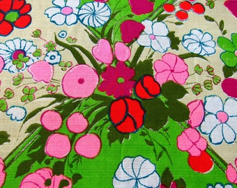 Smashing Flower Power Beatnik Hipster 60's Vintage Barkcloth Fabric Yardage off the Bolt MCM Retro Groovy lounge Peace