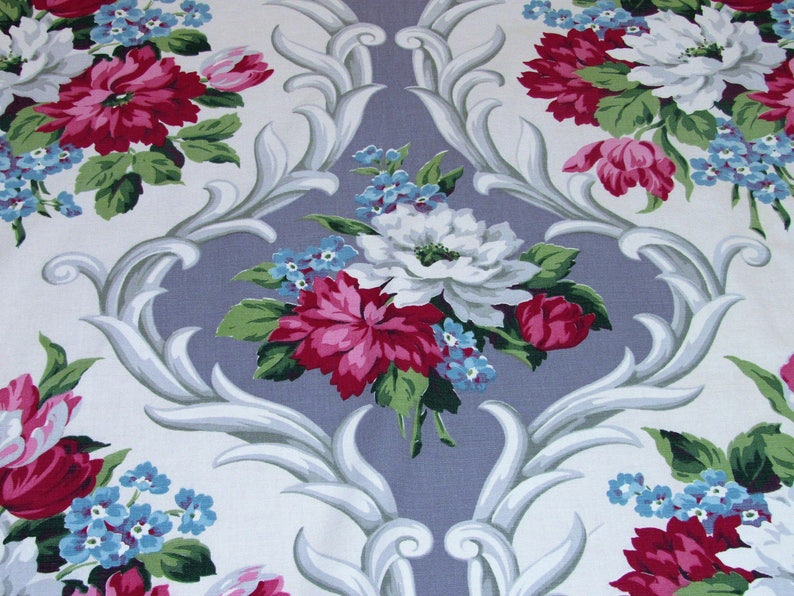 Antiques Customers First Latest Collection Of Vintage Lush Barkcloth Tropical Floral Cotton Fabric Curtain Drapery Panel