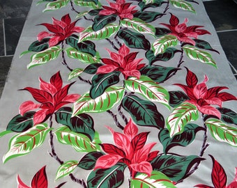 30s Electrified Miami Beach Art Deco Tropical Vintage Barkcloth Era Fabric for Drape Curtain Art Deco Drapery Retro Crafts Upholstery Wicker