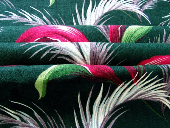 Deco Fronds Barkcloth Vintage Fabric With Hollywood Glam Flavor 10yds Avail