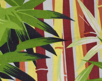 Jungle Bamboo mts Mod South Beach Vintage Barkcloth Era Fabric Electric Limes Retro 1940's Mid Century Gentlemans Apartment Cabana-ESQUE