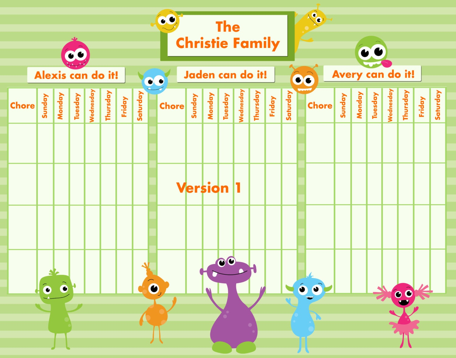 It is a picture of Crush Printable Chore Charts for Multiple Children
