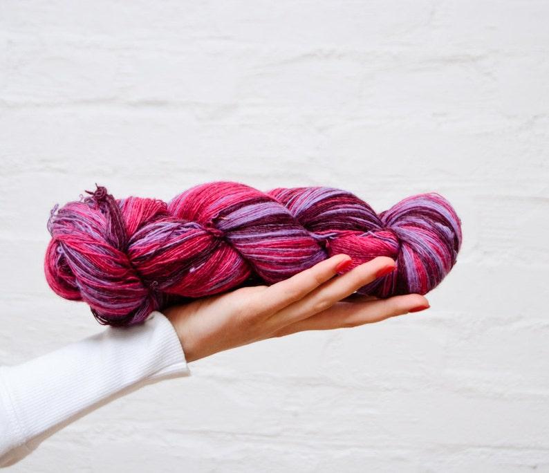 1 ply Lace Weight Kauni Wool Yarn Hot pink Candy Pink Lavender Deep Purple