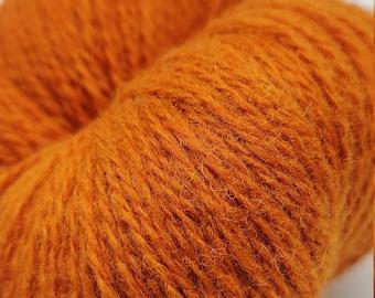 KAUNI  Wool Yarn, Worsted Weight 8/2  2ply, 100% wool, pumpkin color