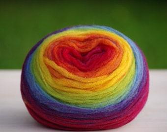 120 g, Kauni Chunky Wool Pencil Roving / Pre-Yarn, for Spinning, Felting or Knitting, Rainbow