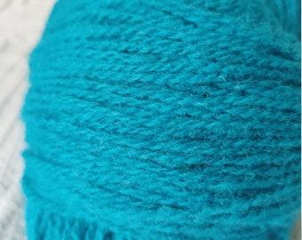 KAUNI  Wool Yarn, Worsted Weight 8/2  2ply, 100% wool, Dark Turquoise color