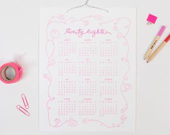 Bennet 2018 | letterpress wall calendar (HOT PINK ink)