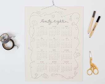 Bennet 2018 | letterpress wall calendar (GREY ink)