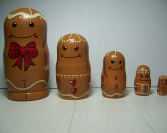 Hand painted Gingerbread people Collection stacking nesting doll set
