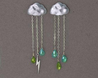 Lightning Storm Earrings. English Rain Cloud Earrings. Storm Gemstone Jewelry.