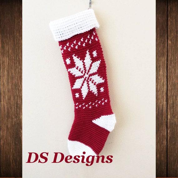Crochet Pattern Snowflake Christmas Stocking Pattern Etsy