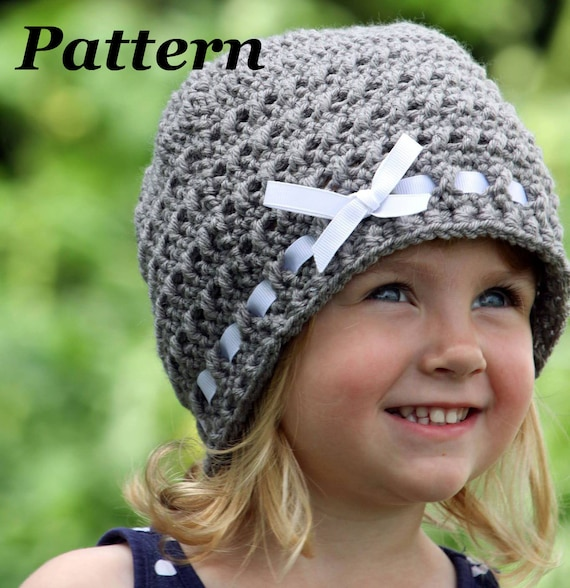 Pattern Crochet Ribbon Hat Crochet Winter Hat Pattern Girls Etsy