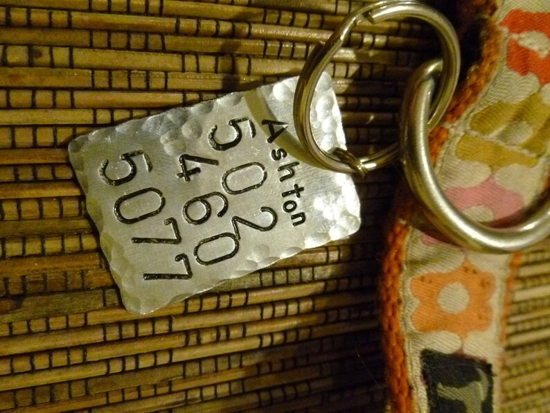 Hammered Hand Stamped Identification Dog Tag Boyfriend Gift Pet Tag Anniversary gift for man Art