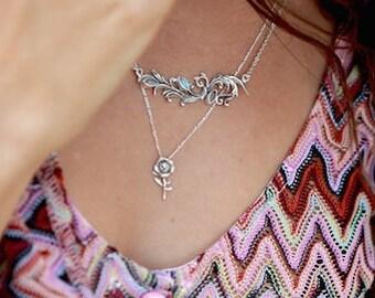 Rose Necklace, Rose Pendant, Flower Necklace, Tiny Rose Necklace, Red Rose Necklace, Silver Rose Necklace, Small Flower Necklace, Floral