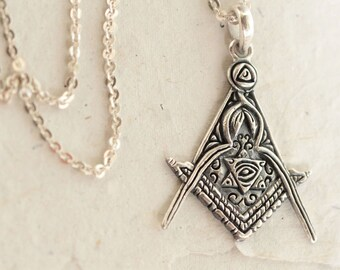 Alchemy Necklace, Gypsy Necklace, Magic Necklace, Fantasy Necklace, Carved Sterling Silver Necklace for Women, Transmutation Symbol Necklace