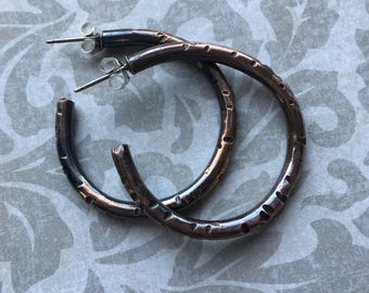 Copper Hoop Earrings with a Rustic Texture