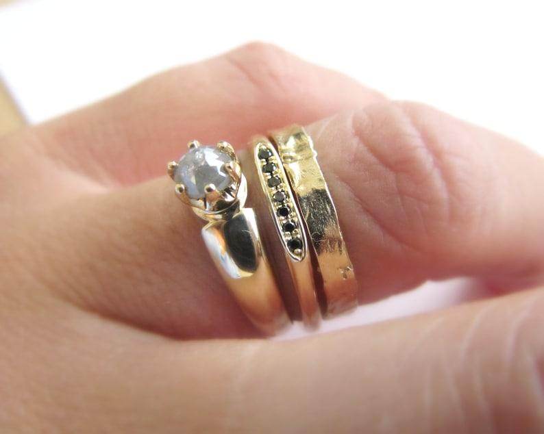 Solid gold ring set, Bridal ring set, Modern engagement ring, Wedding band  women, Black diamond ring, Stacked rings, Gold ring women, Signet