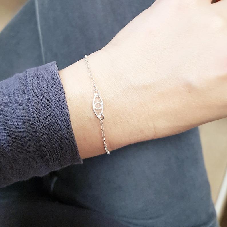 Stacked bracelet set Custom tag bracelet Evil eye bracelet Silver bracelet set Personalized Silver bead bracelets Bracelets for women