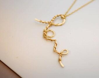 Gold necklace, Love necklace, Boho necklace, Gold love necklace, Wire wrapped necklace, Bridesmaids gift, Friendship necklace, Trendy