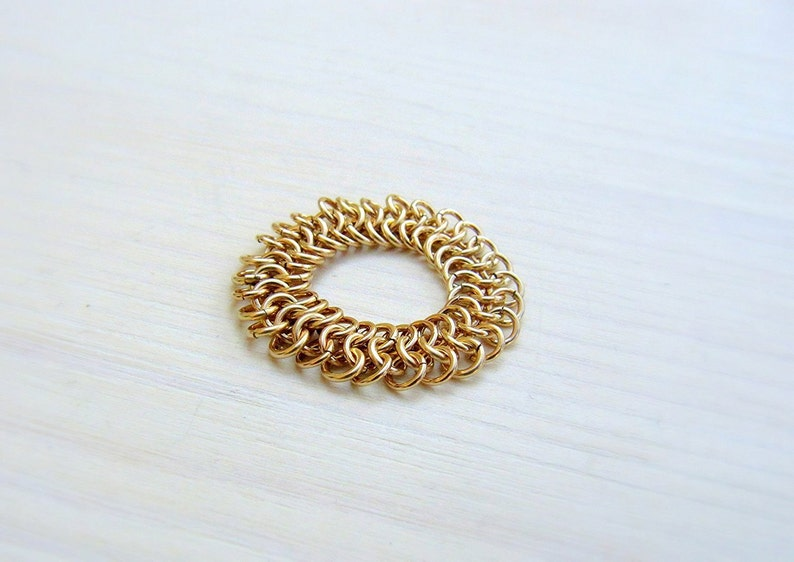 Cocktail ring Girlfriend gift Chain mail ring Statement ring Gift for wife Fashion ring Gold filled ring Chainmaille ring Boho ring