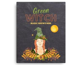 Green Witch - Magic Grows Here - Original Art on Wraparound Canvas