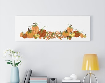 Fall Autumn Harvest Original Art on Canvas Gallery Wraps - Pumpkins and Leaves