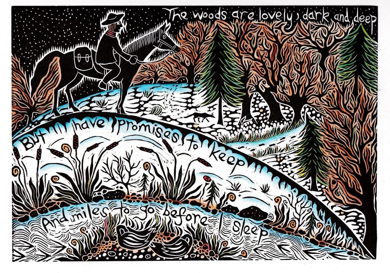 Im Wald vorbeischauen an einem verschneiten Abend. Lino cut | Etsy