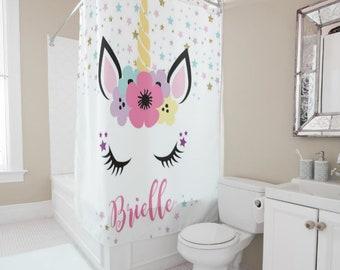 Personalized Unicorn Shower Curtain Tween Girls Decor Monogram Bath Kids Sibling Bathroom