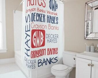 Personalized Shower Curtain Tween Decor Monogram Bath Kids Boys Bathroom Sibling Gift For