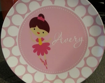 Personalized Child's Melamine Plate or Bowl - Ballerina