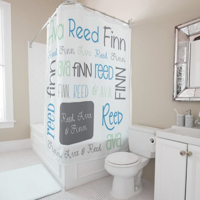 Personalized Shower Curtain Tween Decor Monogram Bath Kids Sibling Bathroom
