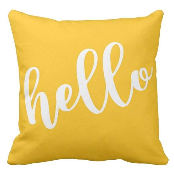 Hello Decorative Throw Pillow Personalized Pillow Home Etsy Custom Etsy Decorative Throw Pillows