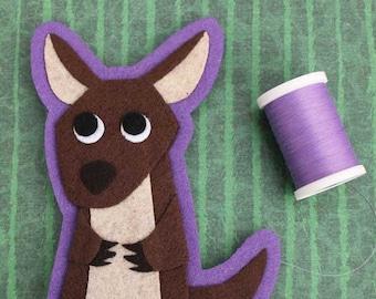 Kangaroo - Felt Animal Iron On Patch OR Christmas Ornament - Sew On Patch - Felt Animal Applique - Animal Lover Gift - Mildred The Kangaroo
