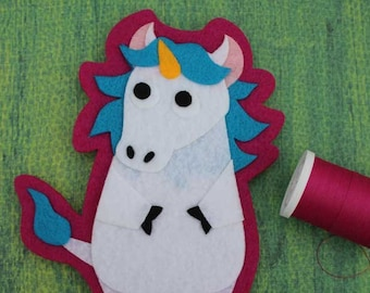 Unicorn - Iron on Patch OR Ornament - Sew On Patch - Felt Animal Applique - Charlemagne the Unicorn