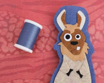 Llama - Felt Animal - Iron on Patch OR Ornament - Sew On Patch - Applique -Giuseppe the Llama