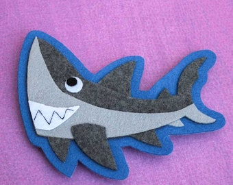 Shark - Iron on Patch OR Ornament - Sew On Patch - Felt Animal Applique - Derek the Great White Shark