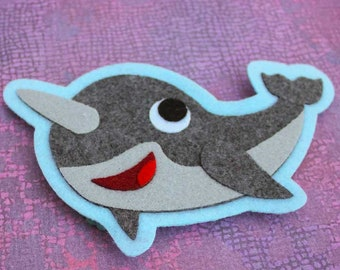 Narwhal - Iron on Patch OR Ornament - Sew On Patch - Felt Animal Applique - Vinnie the Narwhal