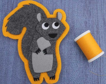 Squirrel - Felt Animal Iron on Patch OR Ornament - Sew On Patch - Woodland Animal Applique - Greta the Squirrel