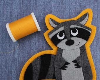 Raccoon- Trash Panda - Iron on Patch OR Ornament - Sew On Patch - Felt Animal Applique -  Matilda the Raccoon