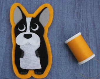French Bulldog -Felt Patch - Iron on Patch OR Ornament - Sew On Patch - Felt Dog Applique- Black OR Tan Frenchie