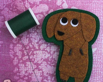 Dachshund - Dog Lover's Gift - Iron on Patch OR Ornament - Sew On Patch - Felt Animal Applique- Black OR Copper Dachshund