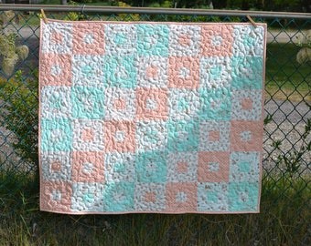 Sweet Baby Quilt, Mint and Peach Patchwork blanket,