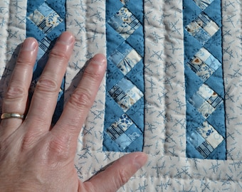Blue Sky Miniature Quilt, Denim Blue Quilt, Wallhanging Decor Quilt