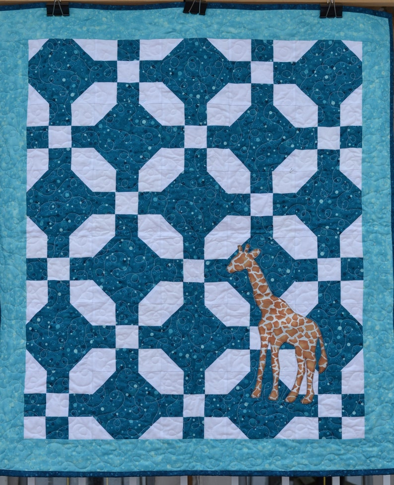 Teal Blue Baby Quilt with Giraffe Applique Gender Neutral image 0
