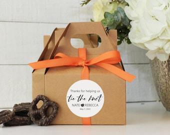 Wedding Favor Box - Tie The Knot Favor Labels - Pretzel Wedding Favor Boxes   Mini Gable Favor Box   Personalized Wedding Favors - Set of 12