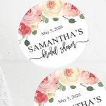 Pink Floral Favor Labels | Bridal Shower Favors | Round Stickers | Bridal Shower Decorations | Pink Floral Sticker | Mason Jar Labels