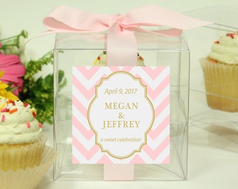 8 - Personalized Cupcake Boxes - Chevron Design - ANY COLOR - bachelorette party favors, wedding favors, baby shower favors, bridal shower